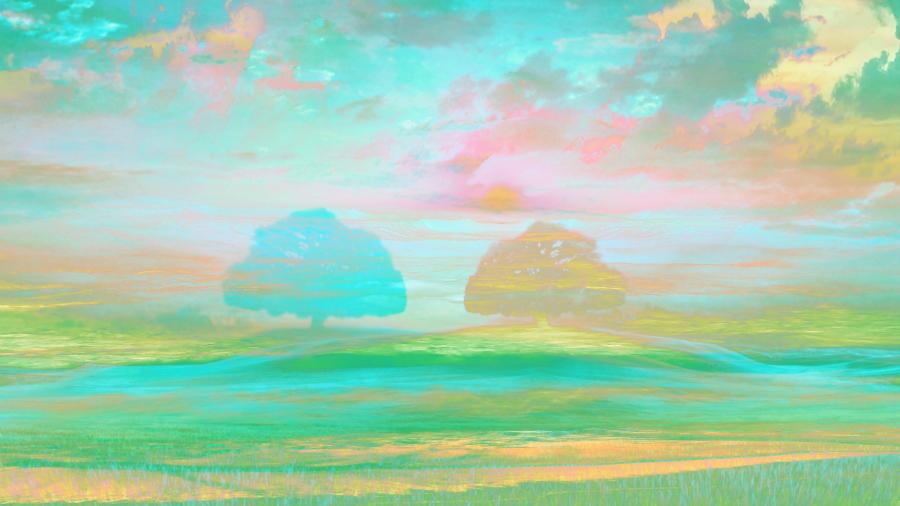 Trees Pastel Blue Impressionism