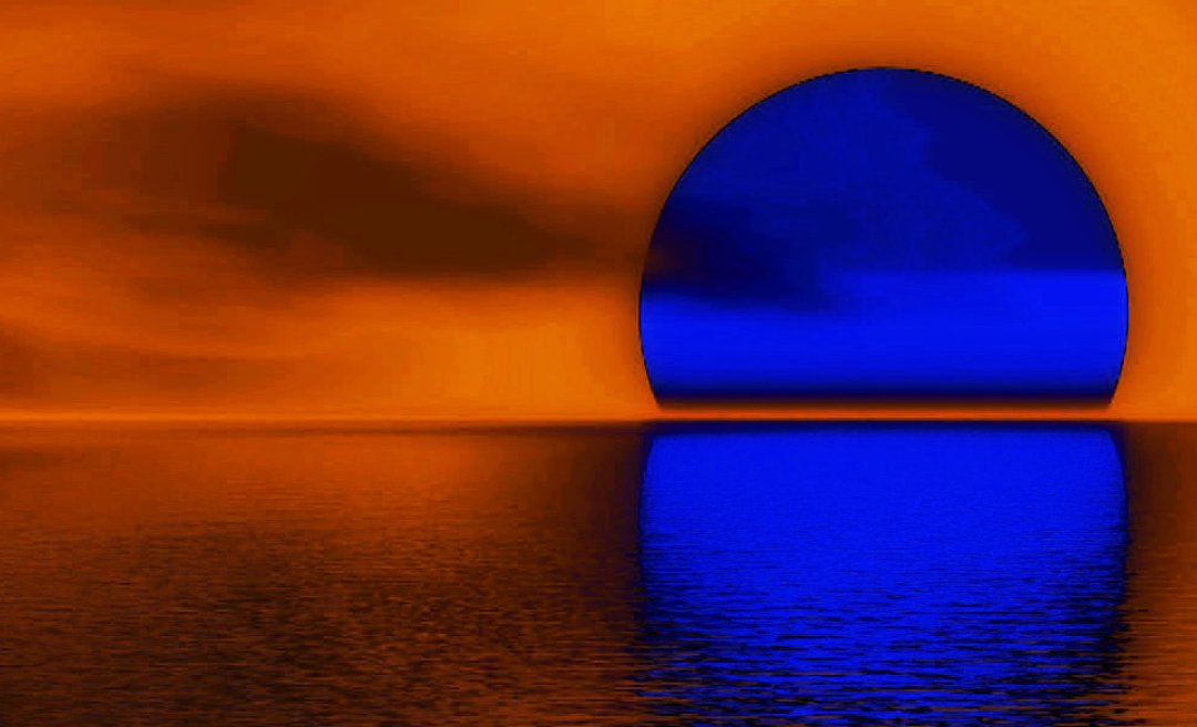 Blue Sunset Landscape Art