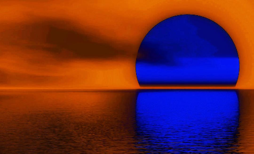 Blue Sunset Landscape Art