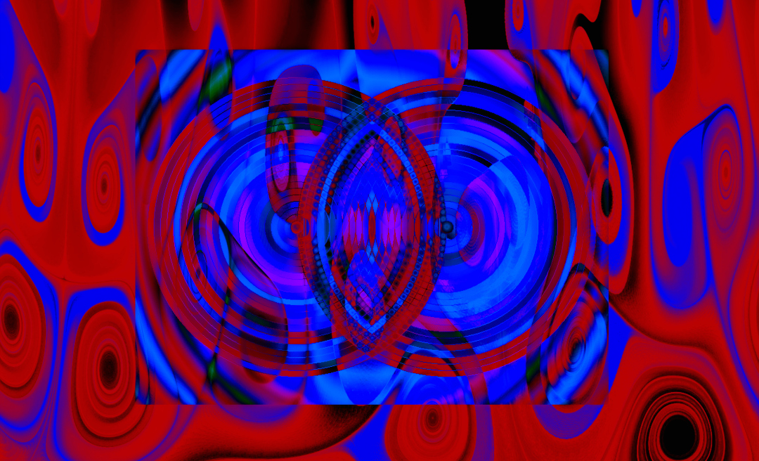 Fine Digital Abstract Art, Red and Blue