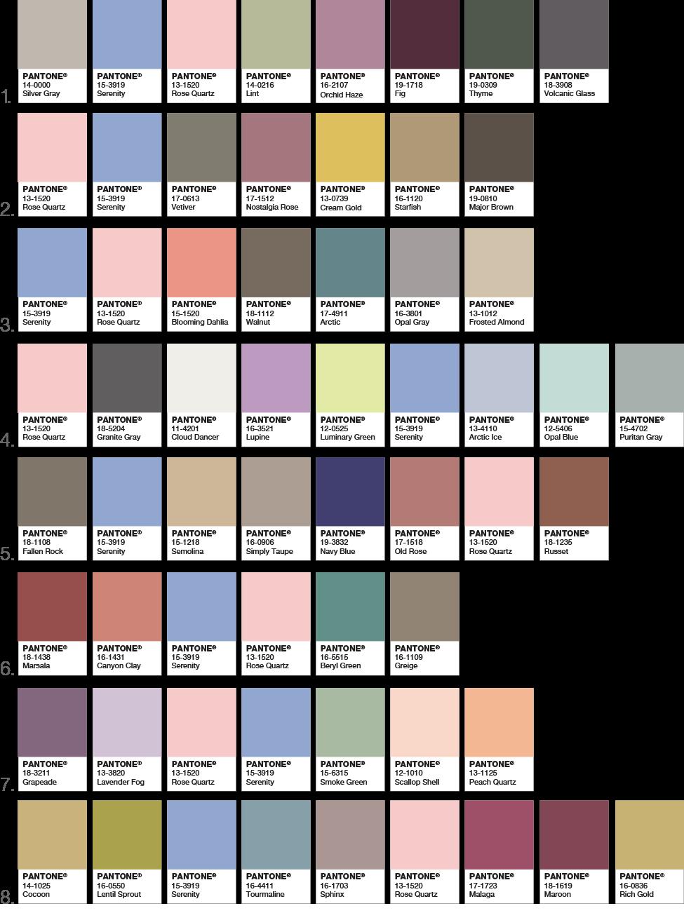 Pantone Colors of 2016